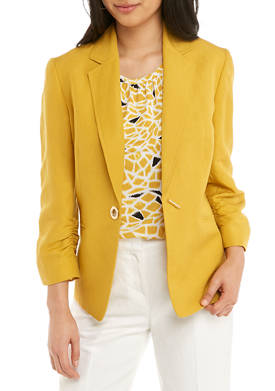Womens Ruched Sleeve Linen Toggle Jacket