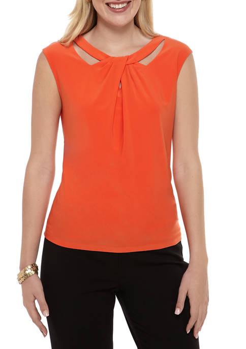 Kasper Womens Asymmetrical Twist Front Knit Top