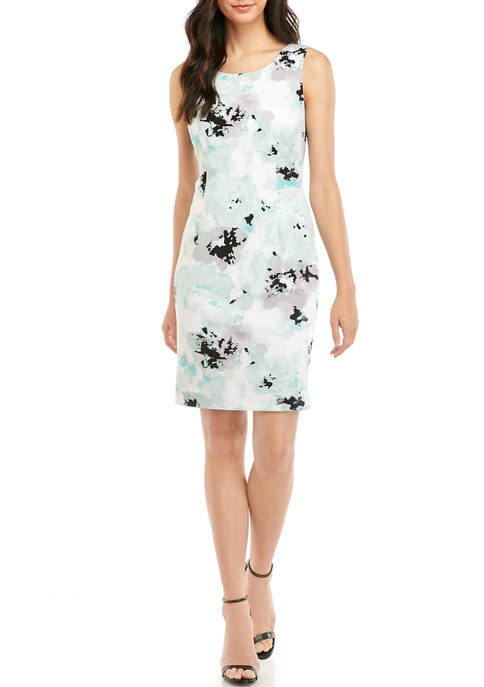 Kasper Womens Floral Sheath Dress