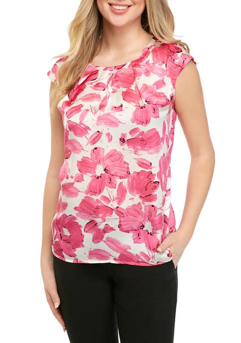 Kasper Womens Cap Sleeve Monet Floral Top