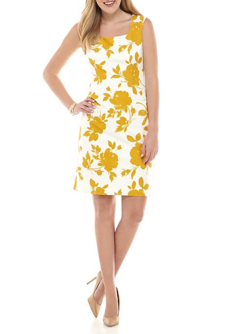 Kasper Womens Floral Crepe Sheath Dress