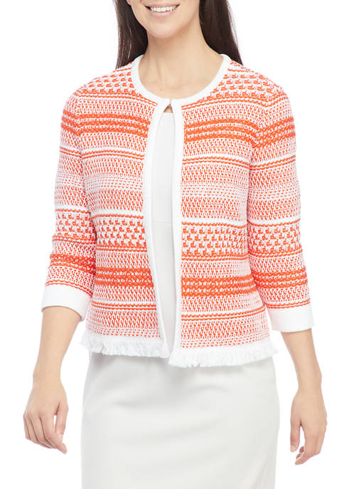 Kasper Petite 3/4 Sleeve Cardigan with Faux Pockets
