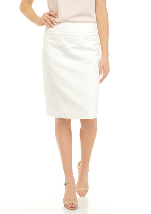 Kasper Womens Floral Jacquard Slim Skirt
