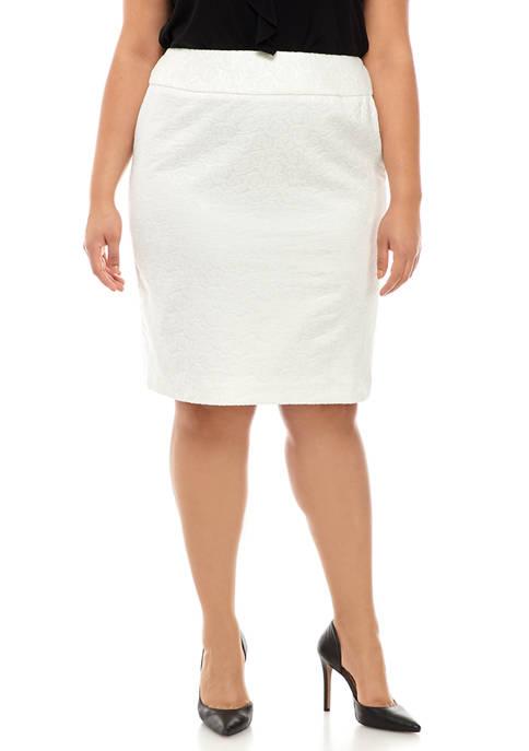 Kasper Plus Size Floral Jacquard Skirt