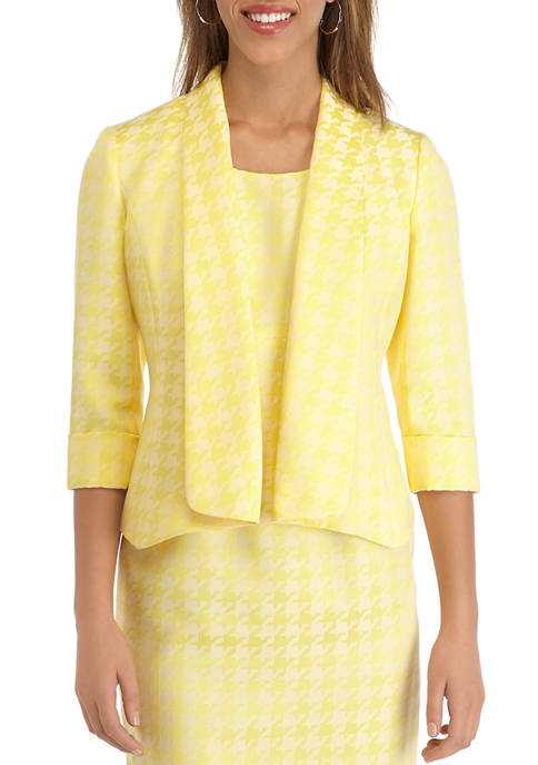 Kasper Womens Houndstooth Jacquard Shawl Collar Jacket