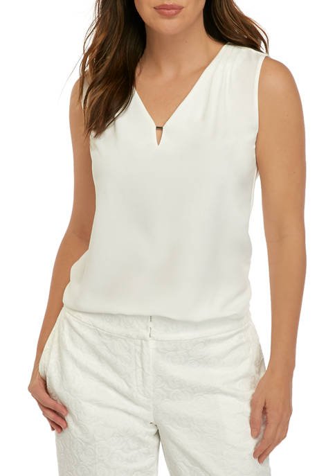 Womens Sleeveless Pleat Shoulder Tank