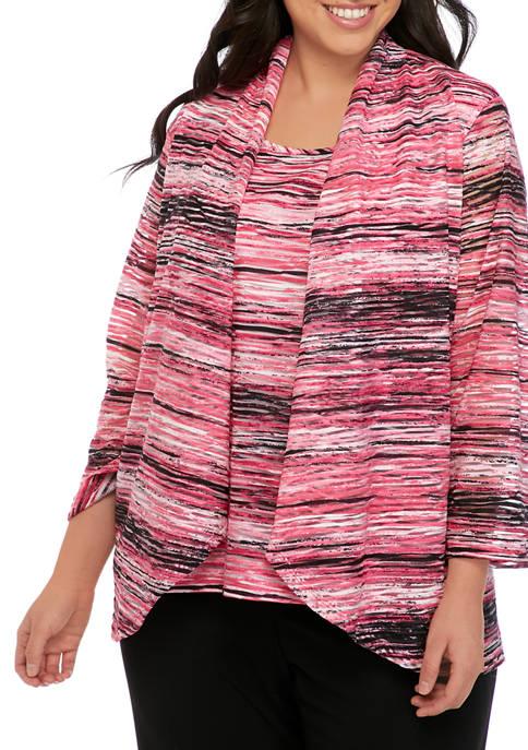 Plus Size Knit Jacquard Shrug