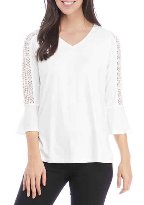Kasper Womens Lattice Bell Sleeve Tunic Top