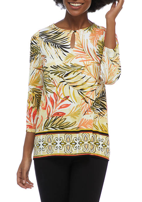 Kasper Womens 3/4 Sleeve Border Print Knit Top