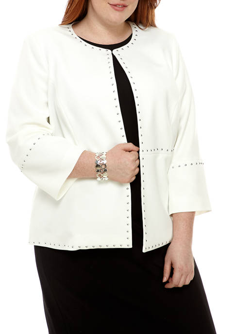 Kasper Plus Size Jewel Embellished Crepe Jacket