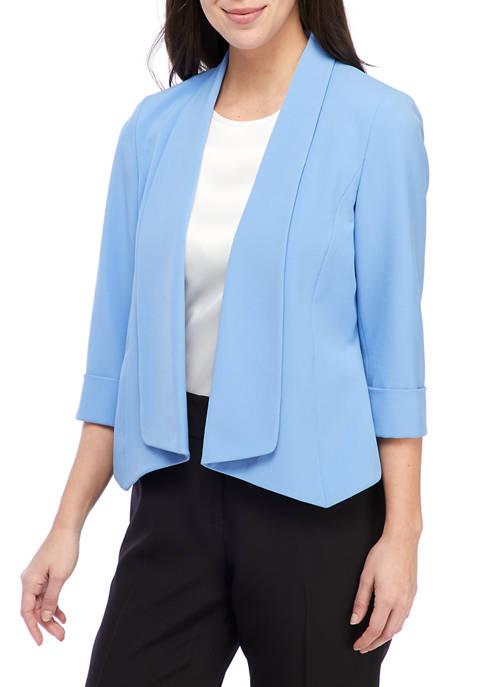 Kasper Womens Crepe de Chine Flyaway Jacket