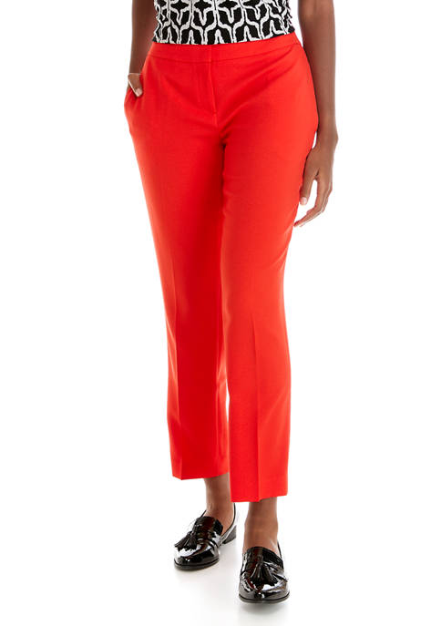 Kasper Womens Stretch Crepe Slim Pants