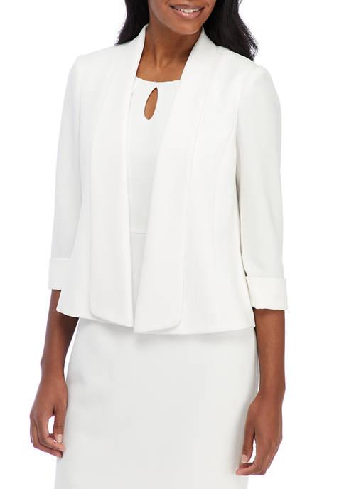Kasper Womens 3/4 Sleeve Textured Shawl Collar Open