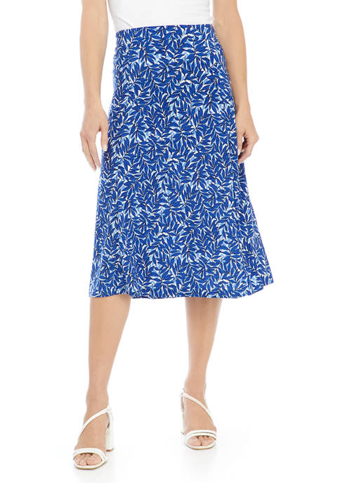 Kasper Petite Printed Midi Flared Skirt