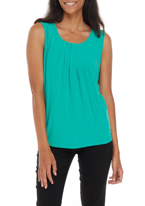 Womens Banded Pleat Knit Top