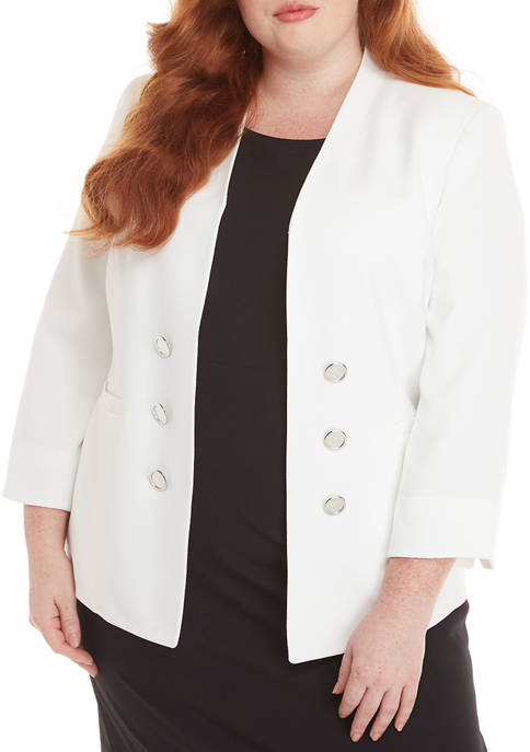 Kasper Plus Size Sophie Crepe Double Breasted Cardigan