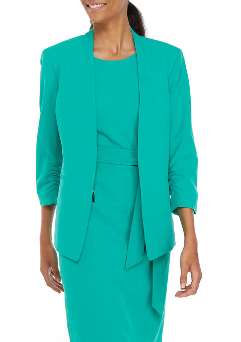 Womens Stretch Crepe Stand Collar 1 Button Jacket