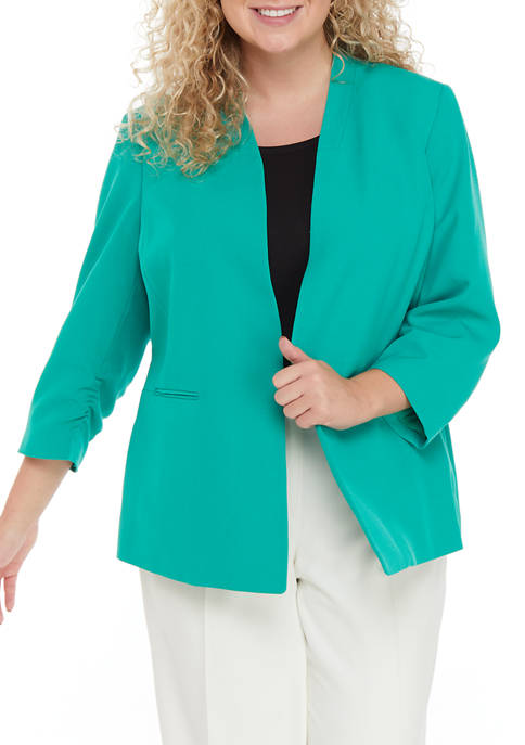 Plus Size Stretch Crepe Stand Collar Jacket