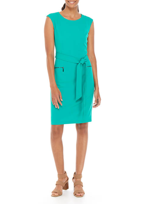 Womens Stretch Crepe Belted Dress