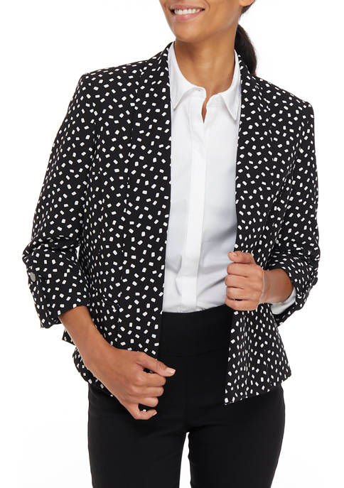 Kasper Womens Dot Print Shawl Collar Flyaway Jacket