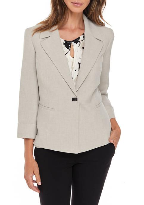 Kasper Womens Pebble Stretch Crepe Notch Collar Cardigan