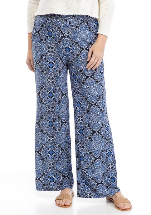 Kasper Womens Printed Wide Leg Pull On Pants
