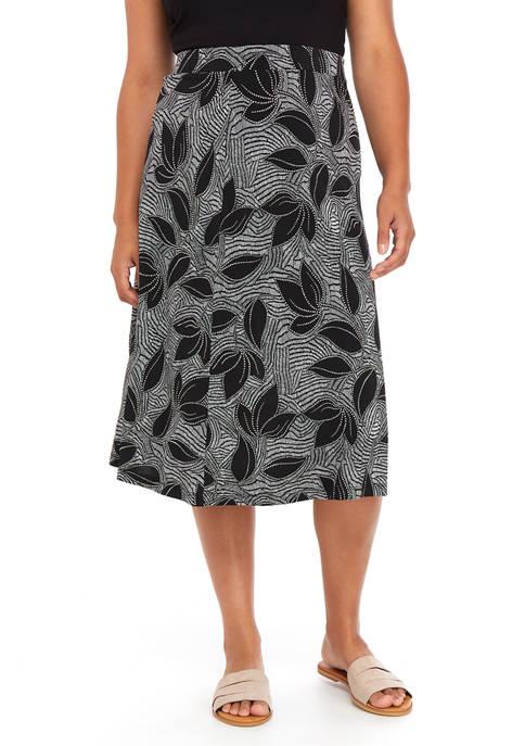 Plus Size Tropical Geo Puff Midi Flare Skirt