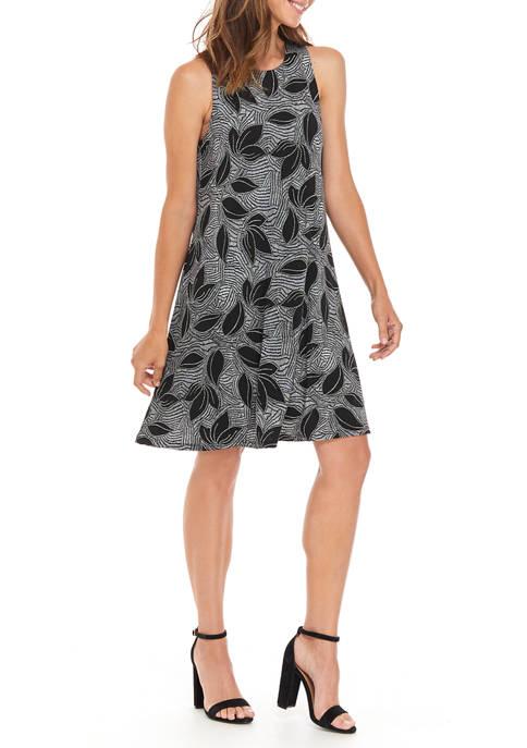 Womens Tropical Geo Puff Midi Knit Dress