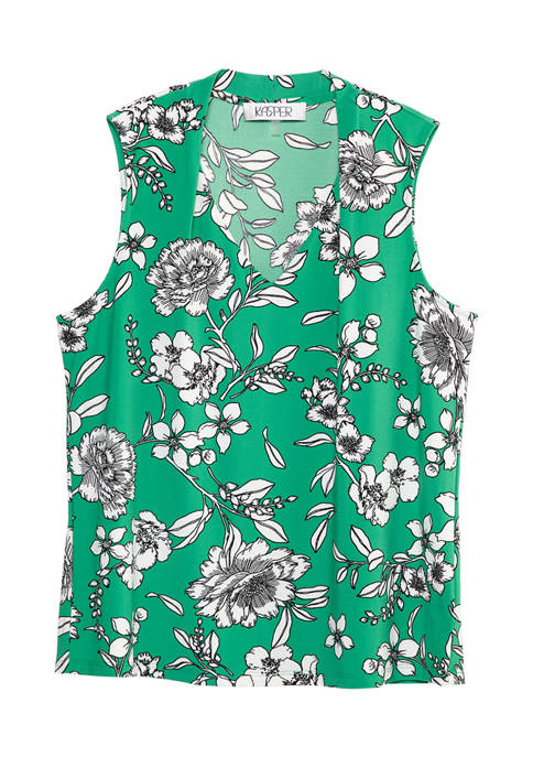 Womens Sleeveless Sketch Floral Knit Top