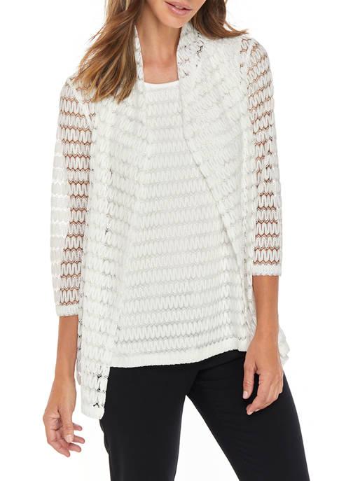 Womens Crotchet Stripe Knit Cardigan