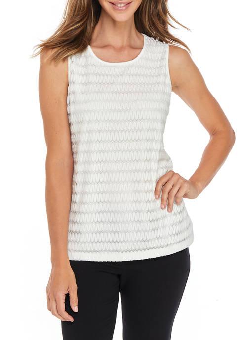 Kasper Womens Crochet Stripe Knit Tank Top