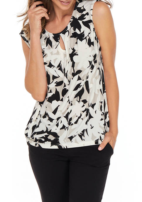 Womens Cap Sleeve Bold Floral Keyhole Top