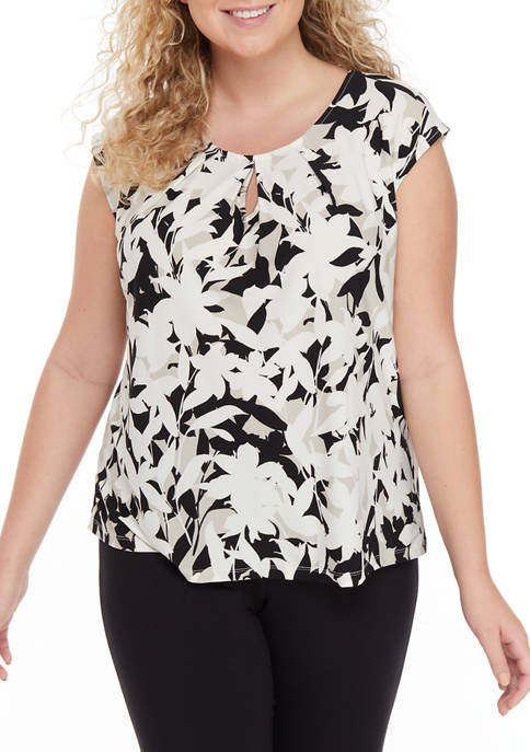 Plus Size Cap Sleeve Bold Floral Keyhole Top