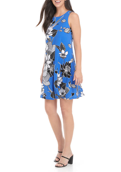 Kasper Sleeveless Floral Print Knit Dress