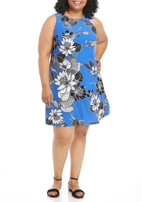 Kasper Plus Size Sleeveless Floral Print Knit Dress