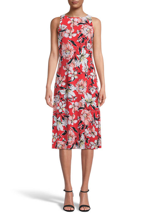 Womens Sleeveless Watercolor Floral Dress