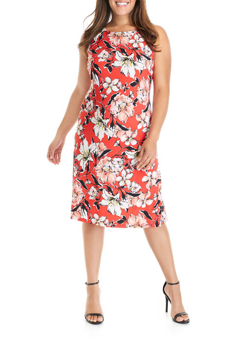Plus Size Sleeveless Watercolor Floral Knit Dress
