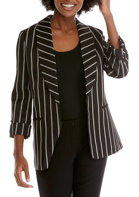 Womens Herringbone Stripe Shawl Collar Jacket