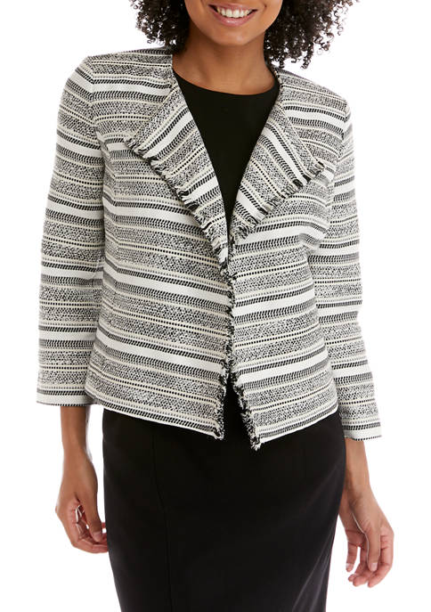 Kasper Womens Stripe Tweed Jacquard Jacket