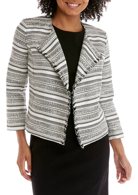 Petite Stripe Tweed Jacquard Jacket
