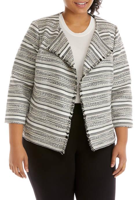Kasper Plus Size Striped Tweed Jacquard Open Jacket