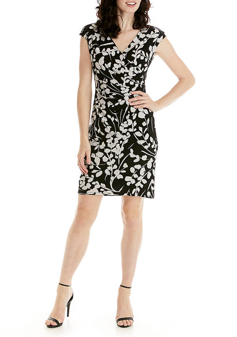 Kasper Womens Cap Sleeve Floral Knit Dress