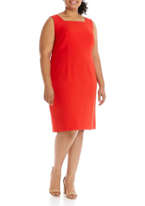 Plus Size Sleeveless Sheath Stretch Dress