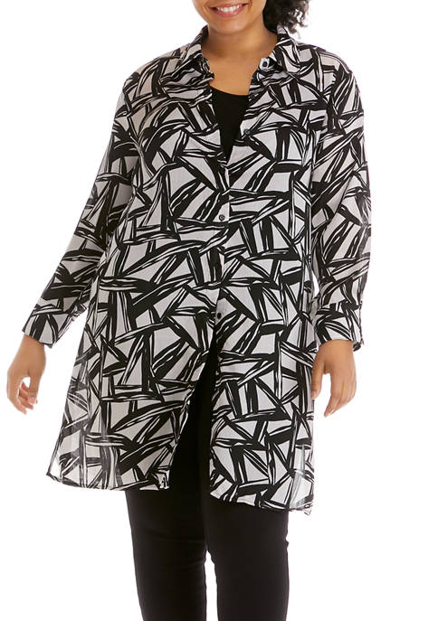 Kasper Plus Size Abstract Geo Print Topper