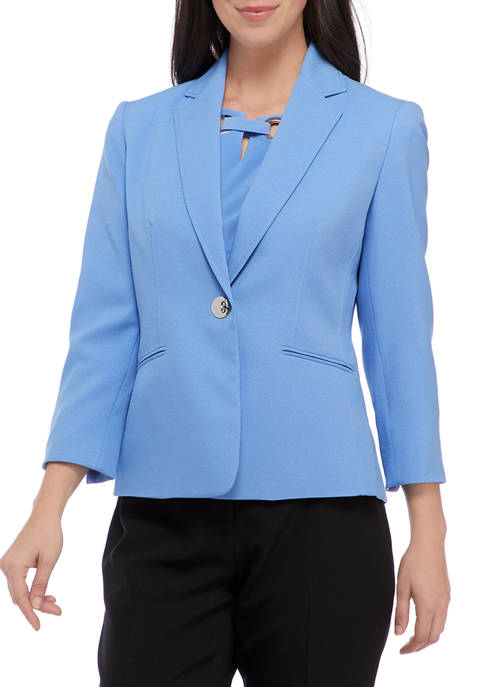 Kasper Petite Button Front Notch Collar Crepe Jacket