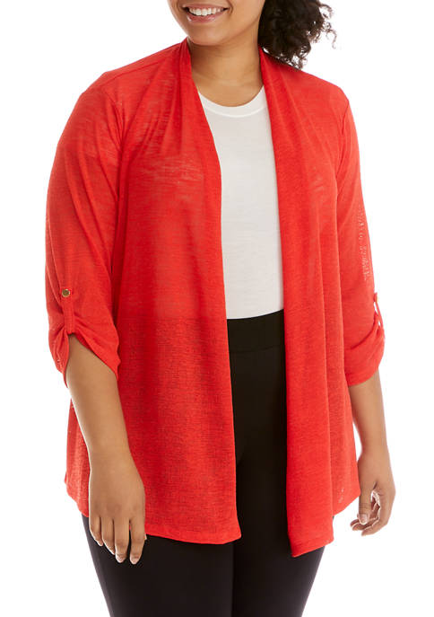 Kasper Plus Size Onion Skin Cozy Cardigan