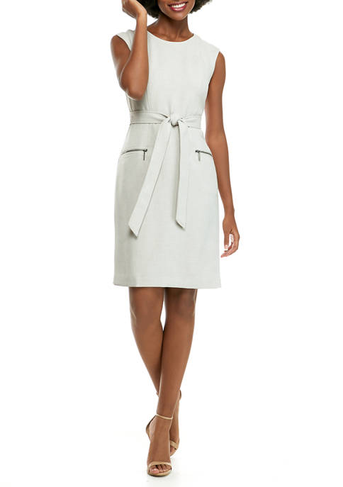 Womens Cap Sleeve Stretch Crepe Belted Dress