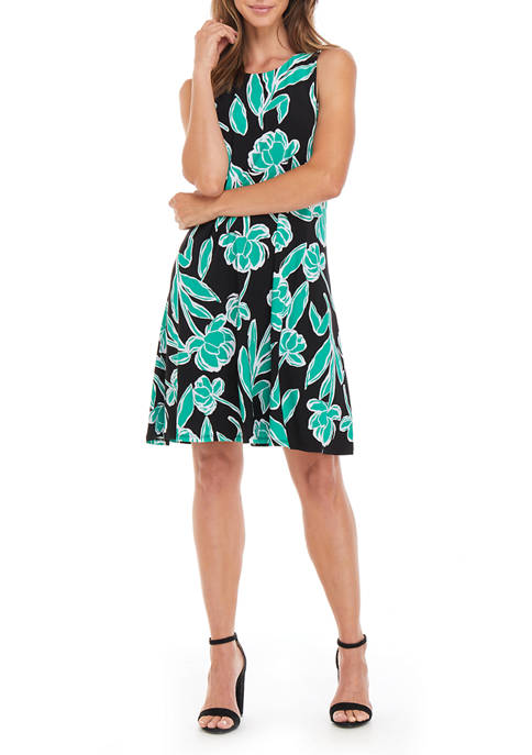 Womens Stencil Floral Print Knit Dress