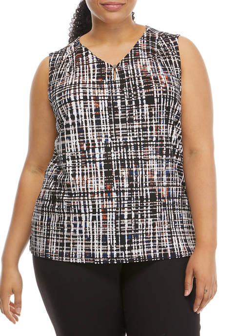Kasper Plus Size Sleeveless Crosshatch Knit Blouse