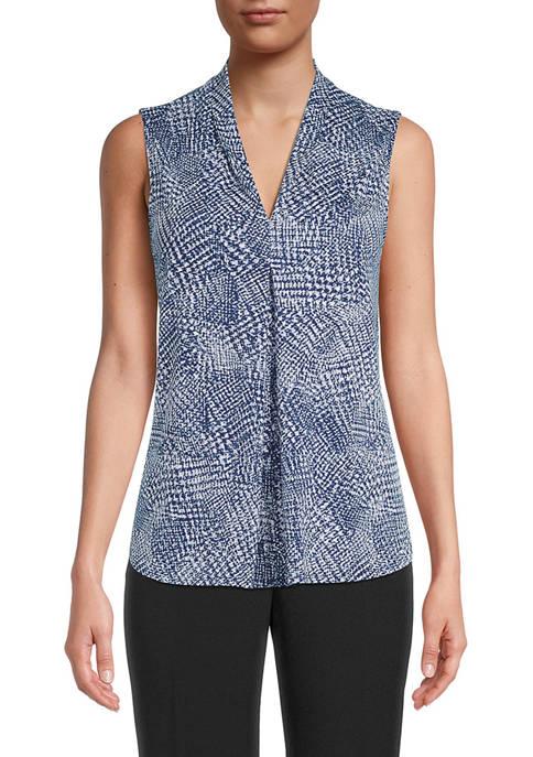 Kasper Womens Blurred Textured Pleat V-Neck Knit Top